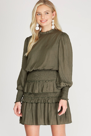She and Sky Long Sleeve Smocked Satin Ruffled Dress - Front cropped
