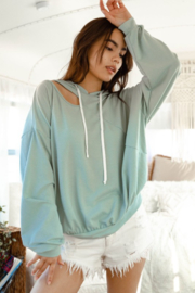 Fantastic Fawn Long Sleeve Solid Knit Cutout Shoulder Hoodie - Product Mini Image
