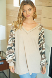 White Birch Long Sleeve Solid Waffle Knit Top - Product Mini Image