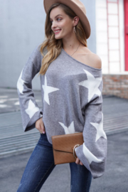 lily clothing Long Sleeve Star Printed Sweater - Front full body