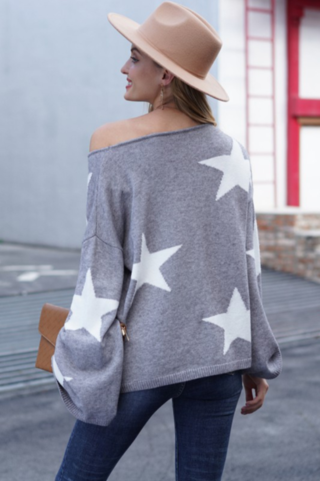 lily clothing Long Sleeve Star Printed Sweater - Side Cropped Image