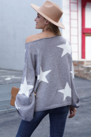 lily clothing Long Sleeve Star Printed Sweater - Side cropped