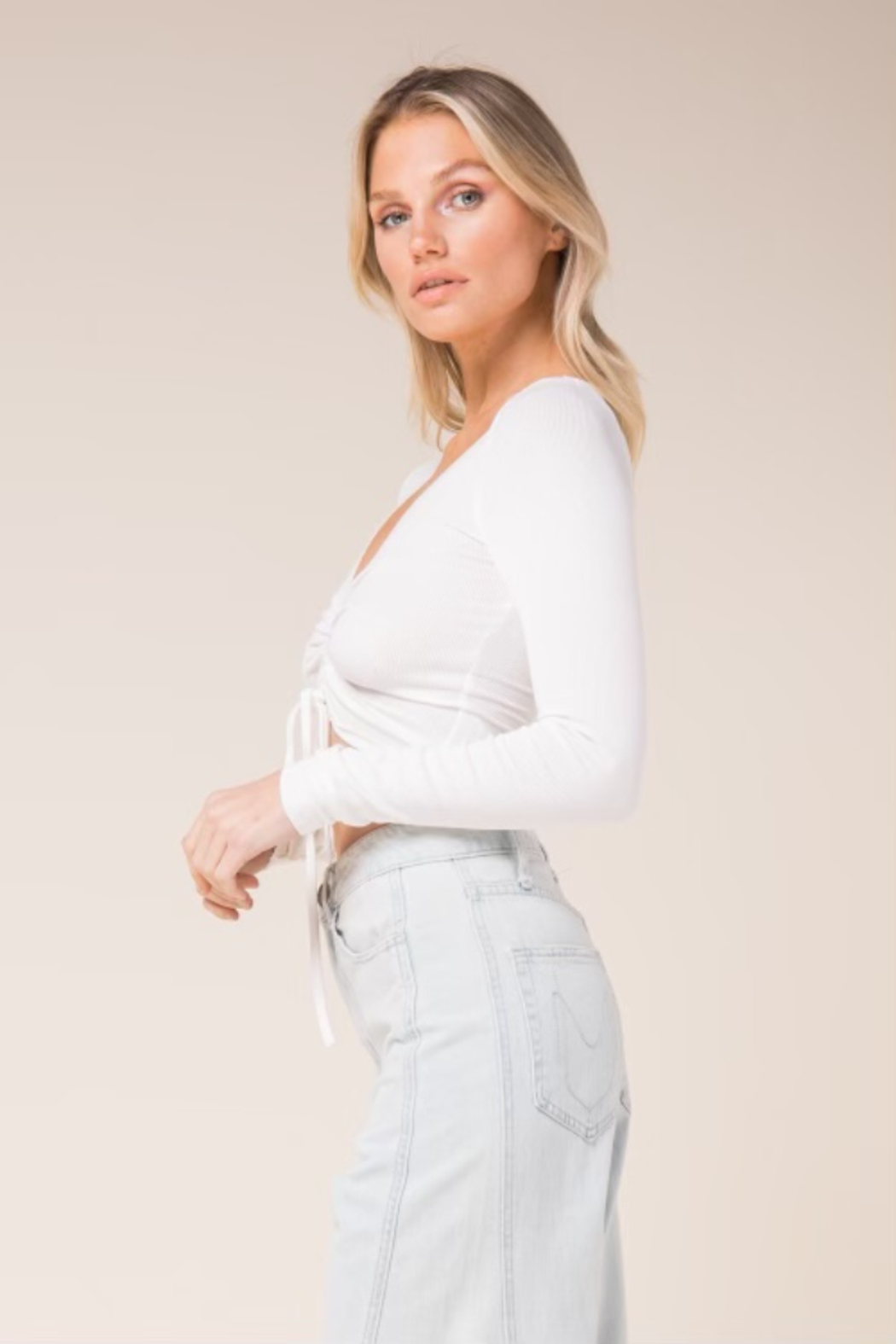 skylar madison Long Sleeve Stretch Crop Top - Front Full Image