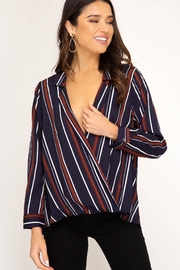 She + Sky Long Sleeve Stripe Surplice Top - Product Mini Image