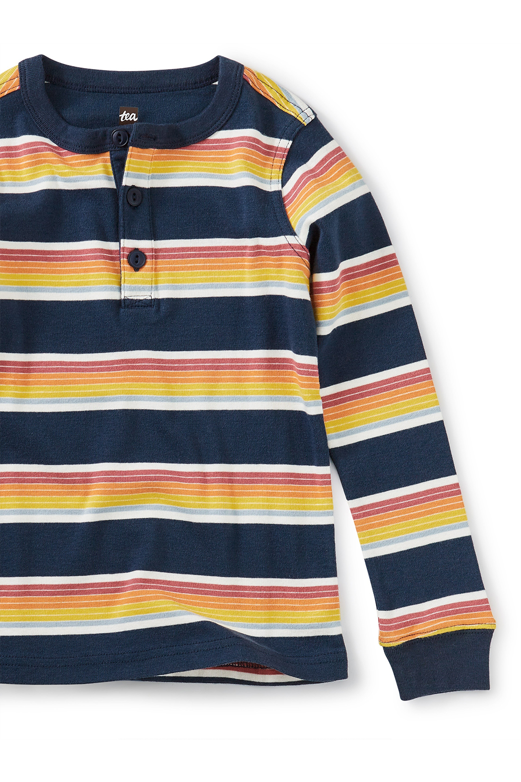 Tea Collection Long Sleeve Striped Henley Top - Front Full Image