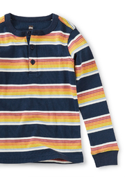 Tea Collection Long Sleeve Striped Henley Top - Front full body