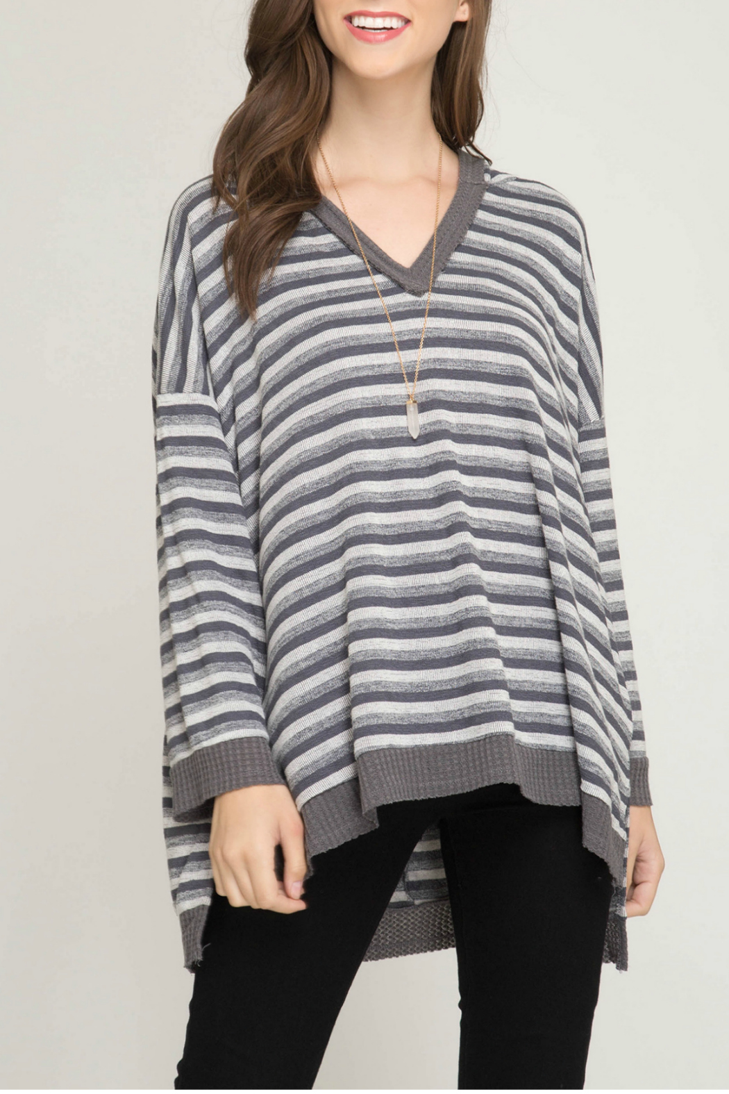 She + Sky Long sleeve striped knit pullover top with hood - Main Image