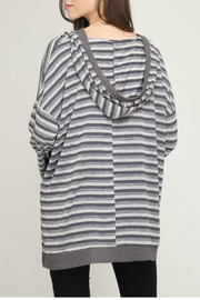 She + Sky Long sleeve striped knit pullover top with hood - Front full body