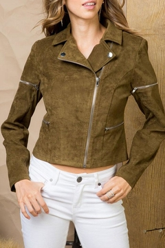 Main Strip Long Sleeve Suede-Jacket - Product List Image