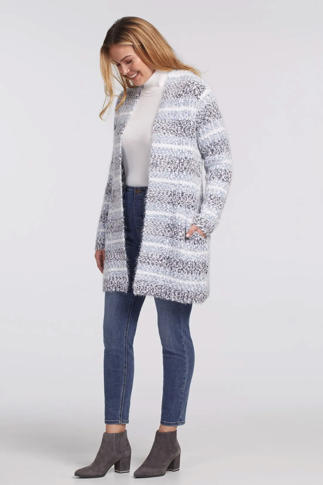 tribal  Long Sleeve Sweater Cardigan - Front Full Image