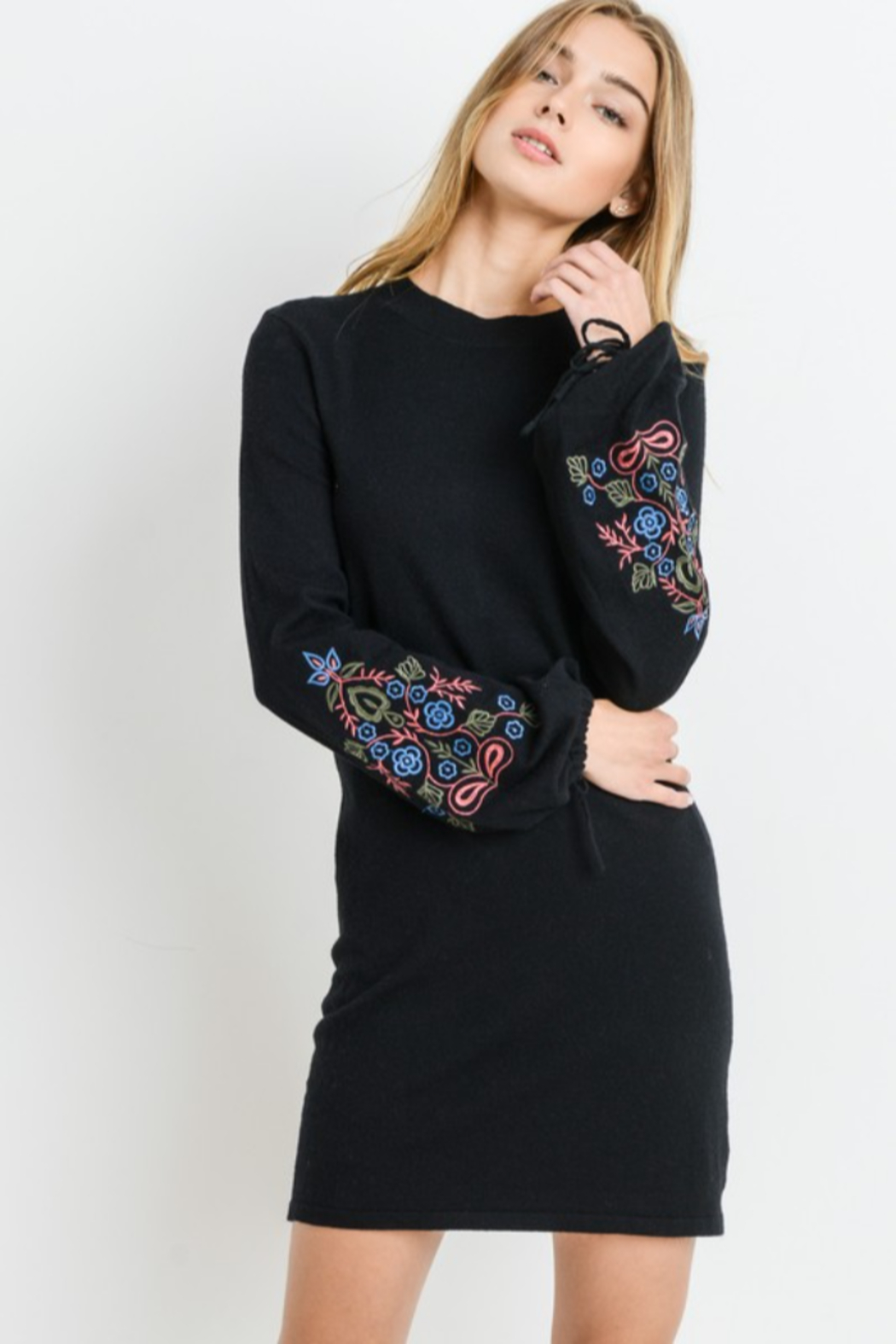 Papercrane Long Sleeve Sweater Dress with Embroidery - Main Image