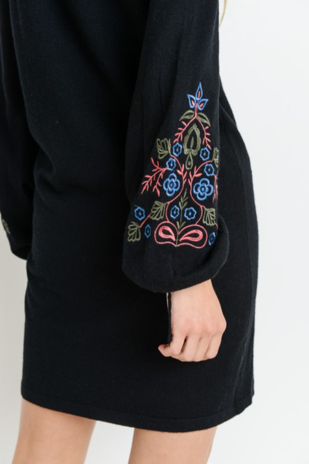 Papercrane Long Sleeve Sweater Dress with Embroidery - Back Cropped Image