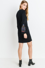 Papercrane Long Sleeve Sweater Dress with Embroidery - Side cropped