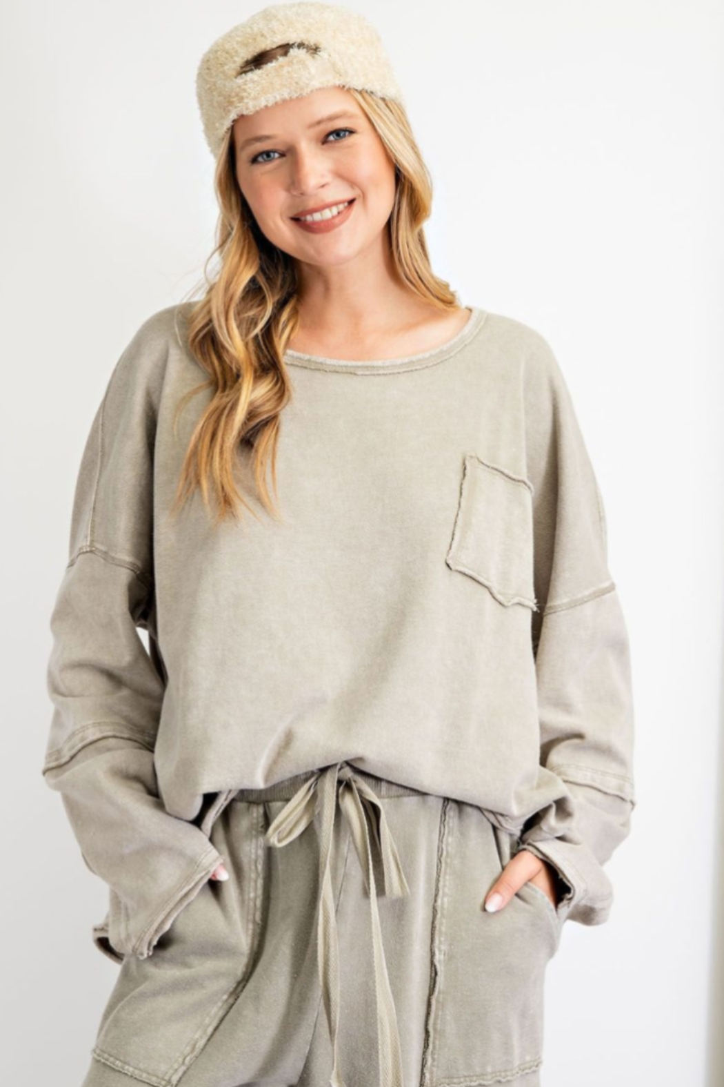 easel  Long Sleeve Terry Knit Pullover - Main Image