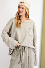 easel  Long Sleeve Terry Knit Pullover - Front full body