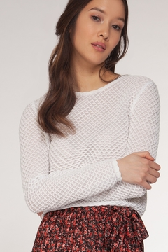 Dex Long Sleeve Textured Crop Top - Product List Image
