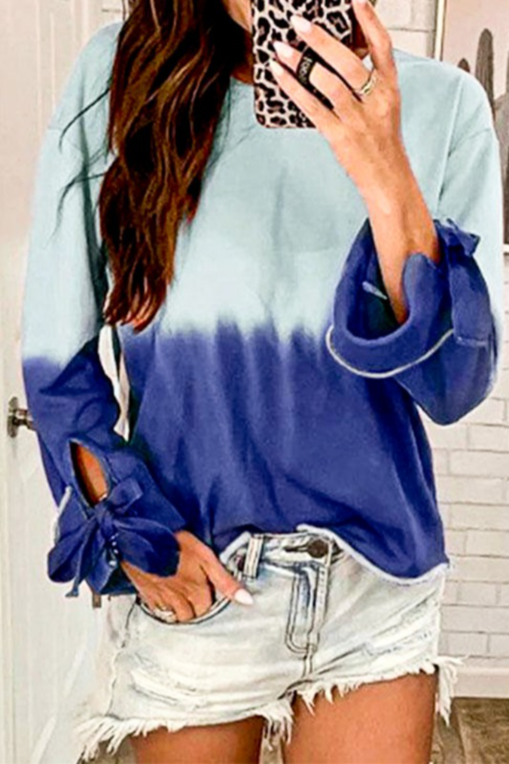 Mazik Long Sleeve Tie Dye Casual Top - Front Full Image