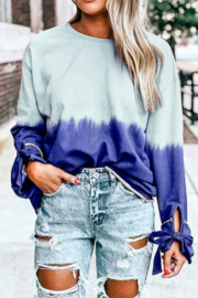Mazik Long Sleeve Tie Dye Casual Top - Front cropped