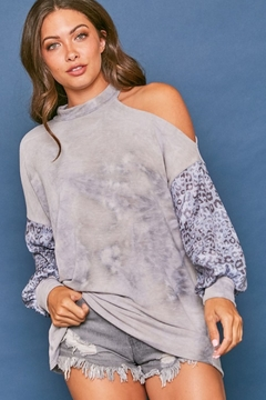 Fantastic Fawn  Long Sleeve Tie Dye Cold Shoulder Contrast Top - Product List Image