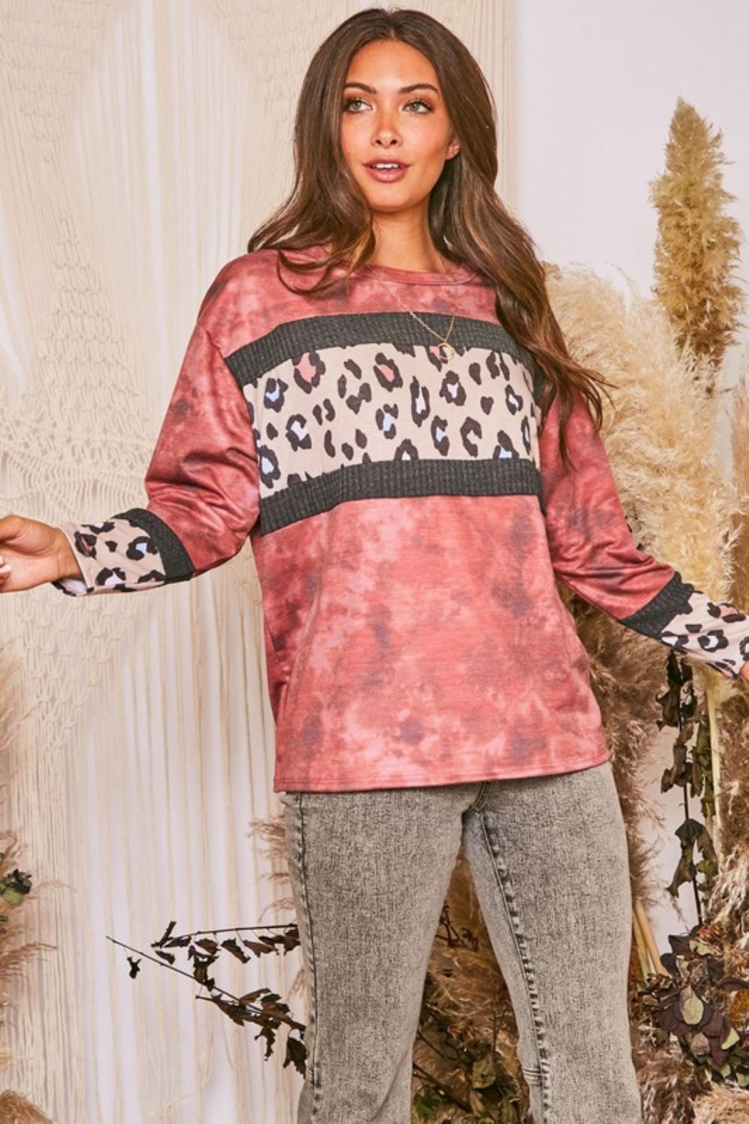 Fantastic Fawn  Long Sleeve Tie Dye Contrast Leopard Knit Top - Front Cropped Image