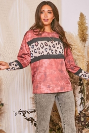 Fantastic Fawn  Long Sleeve Tie Dye Contrast Leopard Knit Top - Front cropped