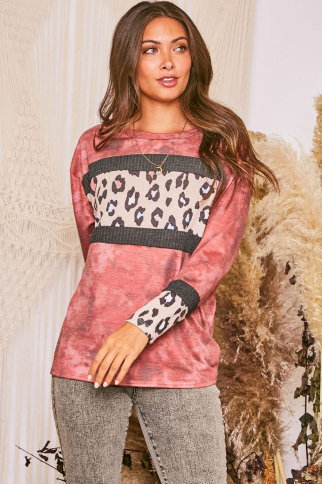 Fantastic Fawn  Long Sleeve Tie Dye Contrast Leopard Knit Top - Front Full Image