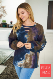 White Birch  Long Sleeve Tie Dye Knit Top - Product Mini Image