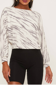 Lush Clothing  Long Sleeve Tie Dye Top with Boat Neckline - Product Mini Image