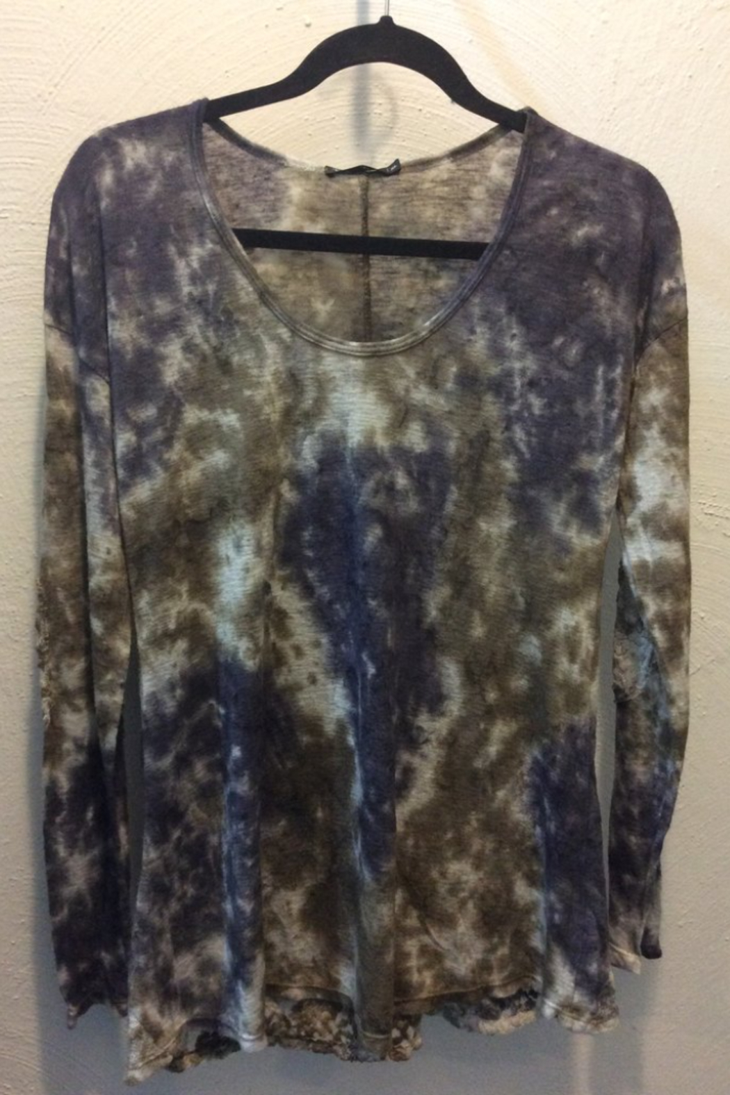 T Party Long sleeve tie dye top with lace back panel - Main Image