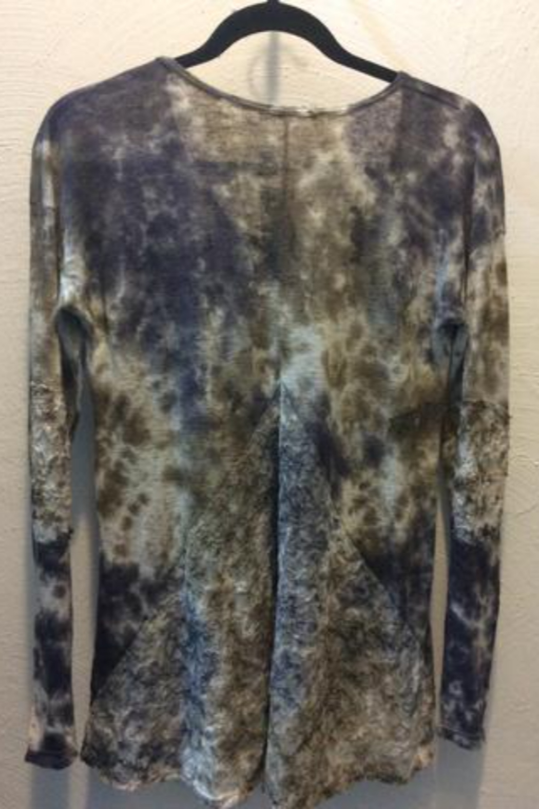 T Party Long sleeve tie dye top with lace back panel - Front Full Image