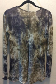 T Party Long sleeve tie dye top with lace back panel - Front full body
