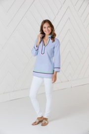 Sail to Sable LONG SLEEVE TUNIC TOP WITH RIC-RAC - Front cropped