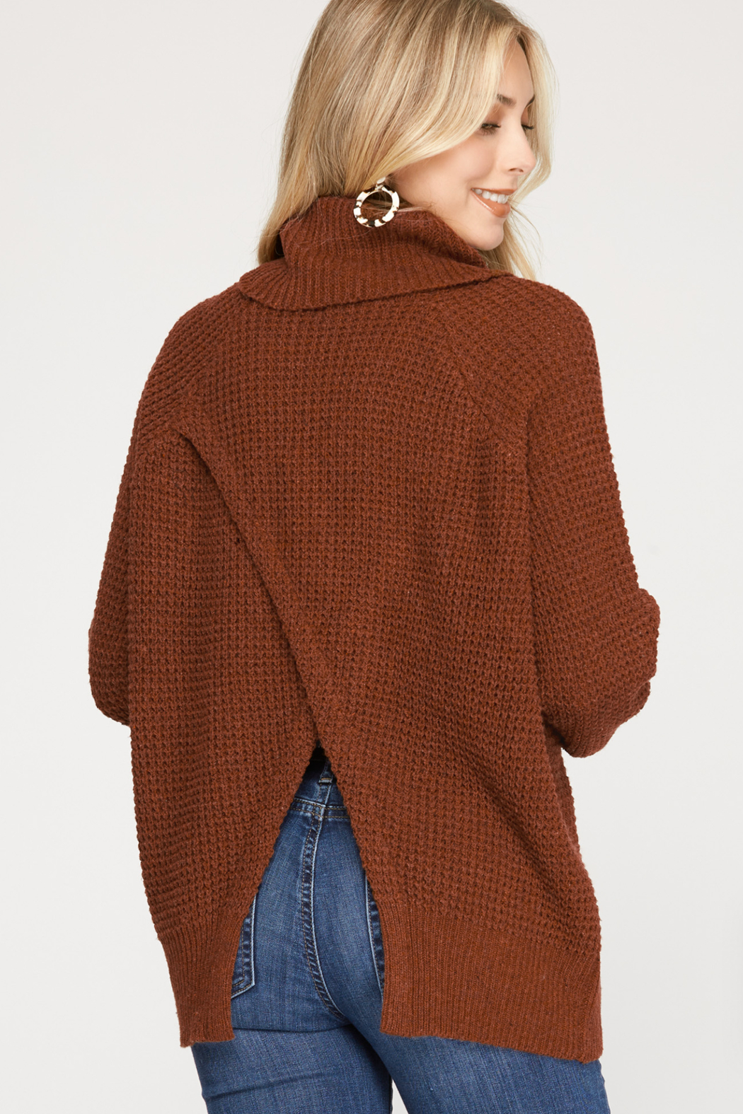 She and Sky Long Sleeve Turtle Neck Knit Sweater Top w/ Split back detail - Front Full Image