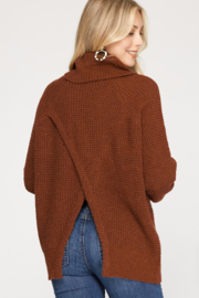 She and Sky Long Sleeve Turtle Neck Knit Sweater Top w/ Split back detail - Front full body