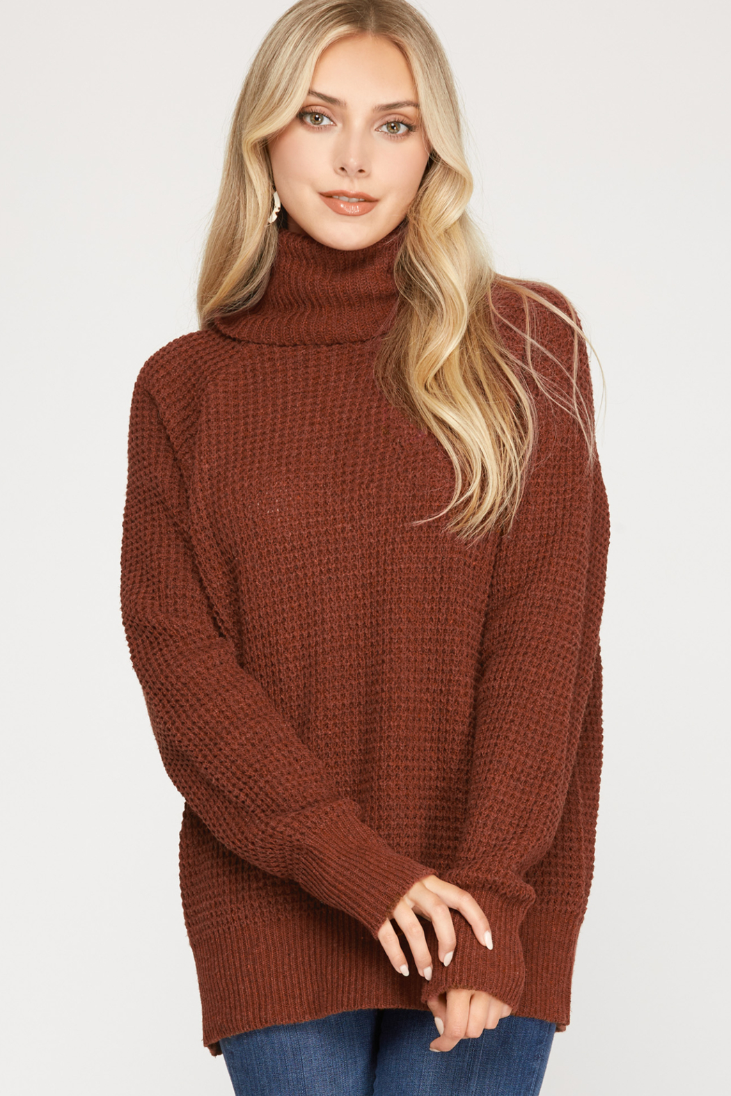 She and Sky Long Sleeve Turtle Neck Knit Sweater Top w/ Split back detail - Main Image