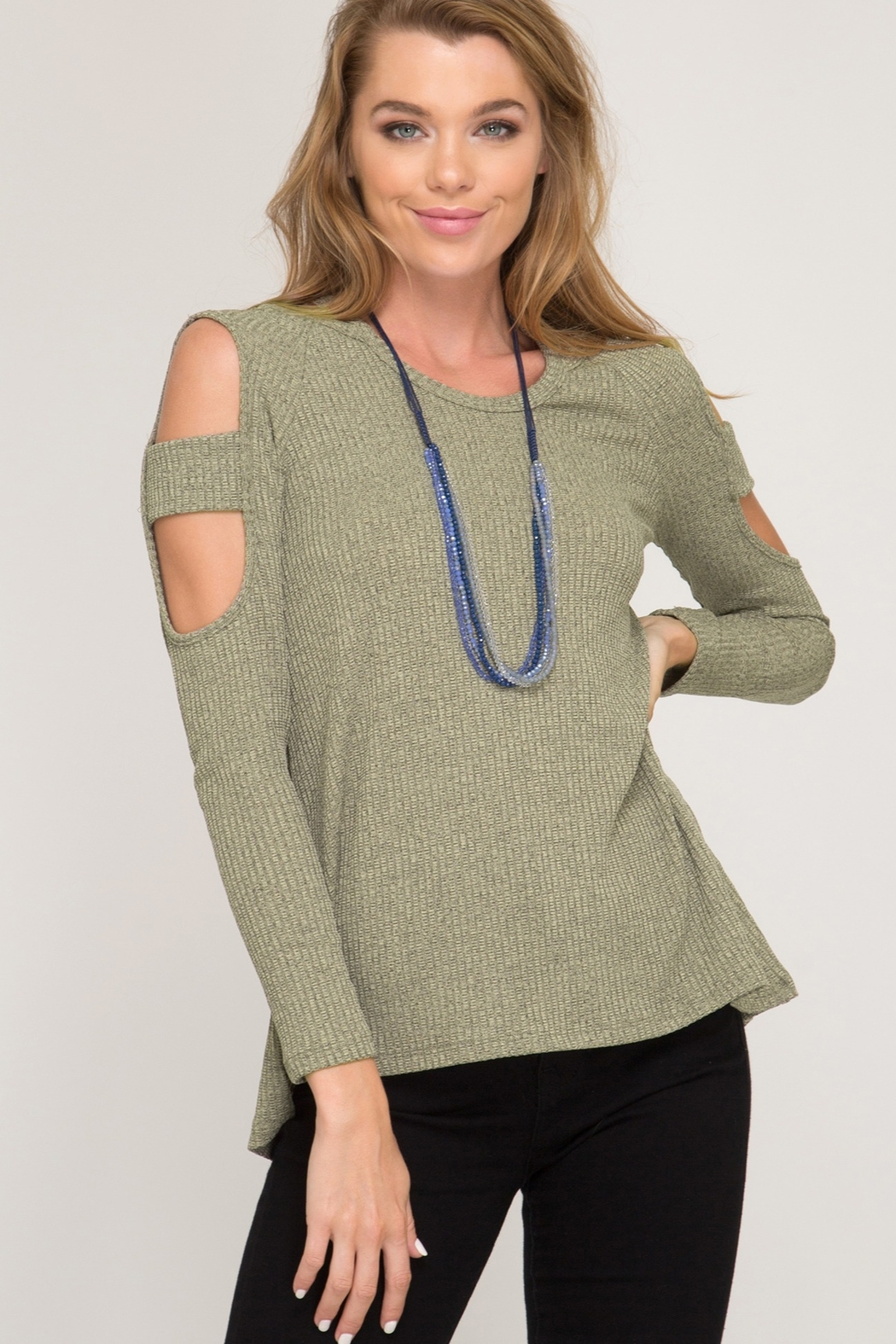 She and Sky LONG SLEEVE TWO TONE RIBBED TOP - Main Image
