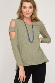 She and Sky LONG SLEEVE TWO TONE RIBBED TOP - Product Mini Image