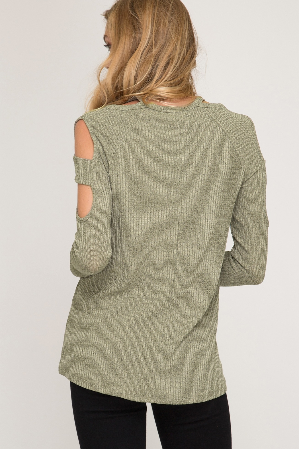 She and Sky LONG SLEEVE TWO TONE RIBBED TOP - Front Full Image