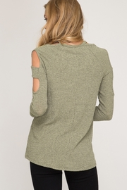 She and Sky LONG SLEEVE TWO TONE RIBBED TOP - Front full body