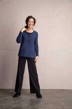 Habitat Long sleeve, V-neck cardigan sweater with 1 pocket and swing bottom in Plum - Product List Image