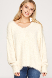 She and Sky Long Sleeve V-Neck Fuzzy Sweater Top - Product Mini Image
