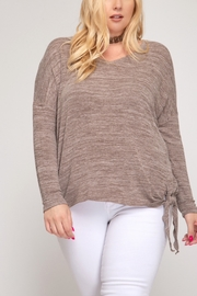 She and Sky LONG SLEEVE V NECK KNIT TOP WITH SIDE TIE DETAIL - Product Mini Image