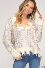 She and Sky LONG SLEEVE V NECK SWEATER - Product Mini Image