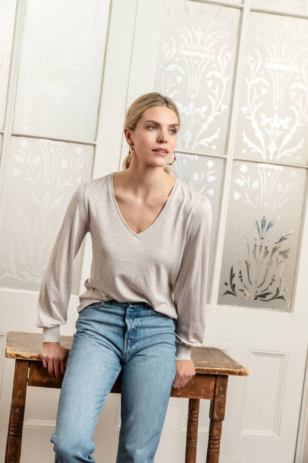 Lilla P Long sleeve v neck tee - Front Cropped Image
