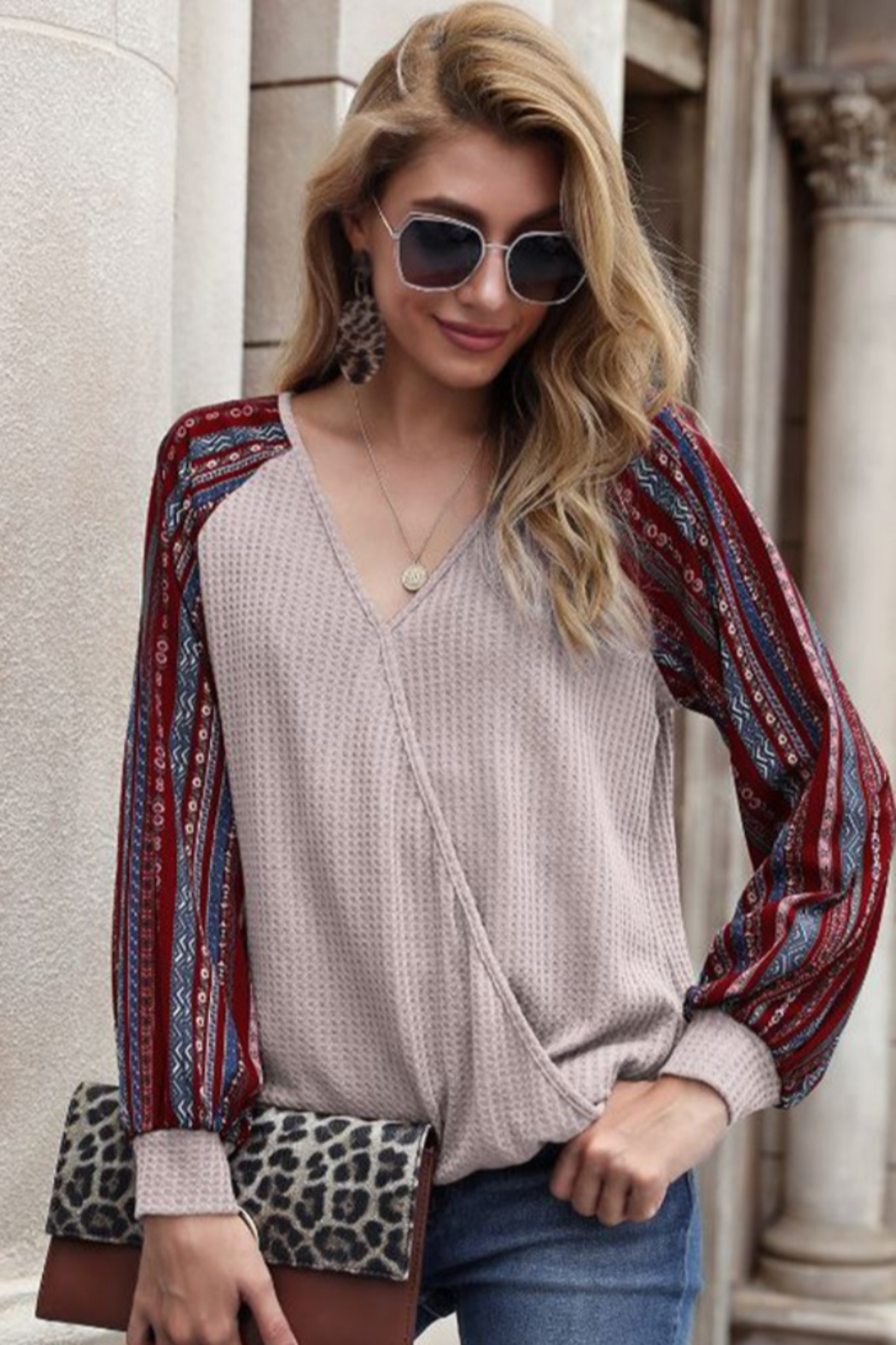 lily clothing Long Sleeve V Neck Top with Printed Sleeves - Main Image