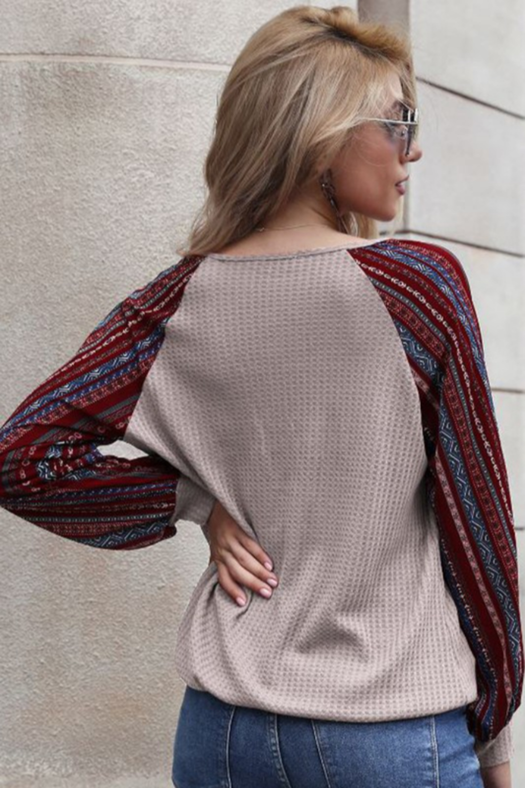 lily clothing Long Sleeve V Neck Top with Printed Sleeves - Front Full Image