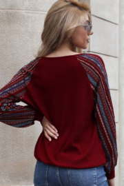 lily clothing Long Sleeve V Neck Top with Printed Sleeves - Front full body