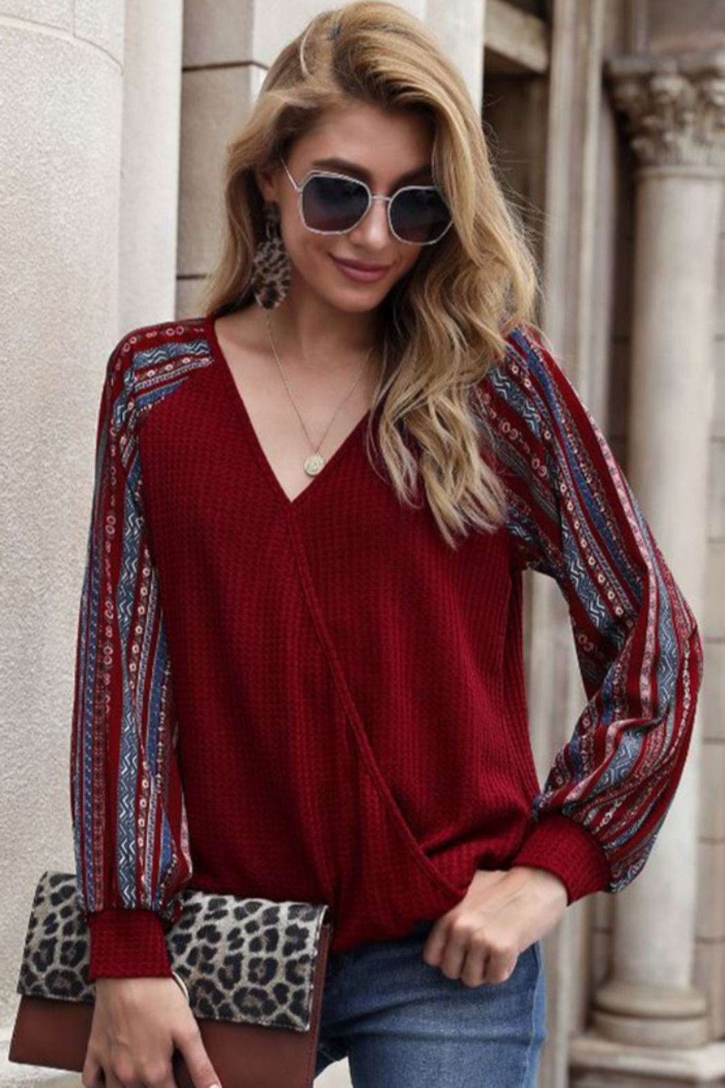 lily clothing Long Sleeve V Neck Top with Printed Sleeves - Front Cropped Image