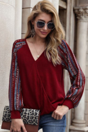 lily clothing Long Sleeve V Neck Top with Printed Sleeves - Front cropped