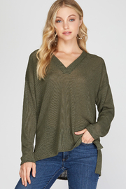 She and Sky LONG SLEEVE VNECK HI LOW KNIT TOP - Product Mini Image